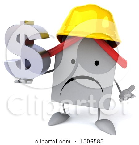 Clipart of a 3d White Home Contractor Holding a Dollar Sign, on a White Background - Royalty Free Illustration by Julos