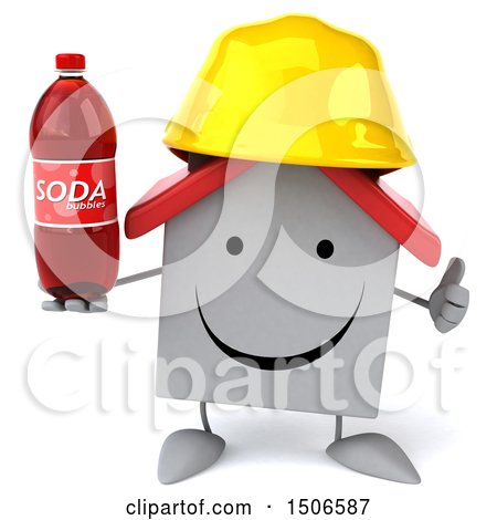 Clipart of a 3d White Home Contractor Holding a Soda, on a White Background - Royalty Free Illustration by Julos