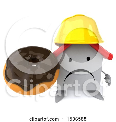 Clipart of a 3d White Home Contractor Holding a Donut, on a White Background - Royalty Free Illustration by Julos