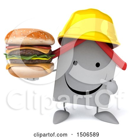 Clipart of a 3d White Home Contractor Holding a Burger, on a White Background - Royalty Free Illustration by Julos
