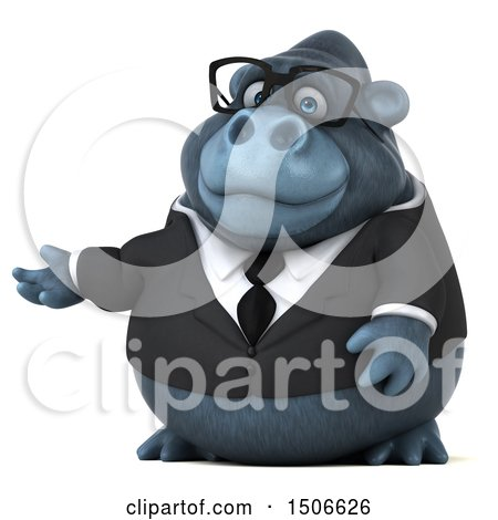 Clipart of a 3d Business Gorilla Mascot Presenting, on a White Background - Royalty Free Illustration by Julos