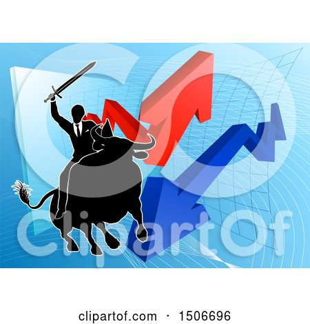 Clipart of a Silhouetted Business Man Wielding a Sword and Riding a Stock Market Bull Against a Graph with Arrows - Royalty Free Vector Illustration by AtStockIllustration