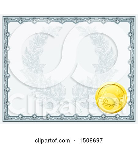 Clipart of a Vintage Certificate Design with a Gold Badge and Laurel Wreath Faded in the Center - Royalty Free Vector Illustration by AtStockIllustration