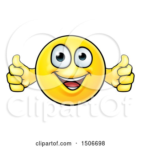Clipart of a Cartoon Happy Yellow Emoticon Holding Two Thumbs up - Royalty Free Vector Illustration by AtStockIllustration