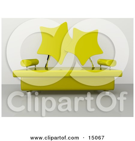 Modern Living Room Or Office Lobby Interior With A Yellow Sofa With Star Shaped Back Rests And Chrome Poles Posters, Art Prints