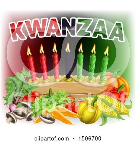 Clipart of Kwanzaa Text with Vegetables and Candles - Royalty Free Vector Illustration by AtStockIllustration
