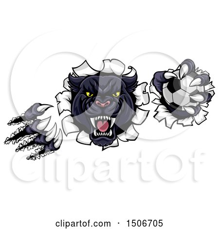 Clipart of a Black Panther Mascot Shredding Through a Wall with a Soccer Ball - Royalty Free Vector Illustration by AtStockIllustration