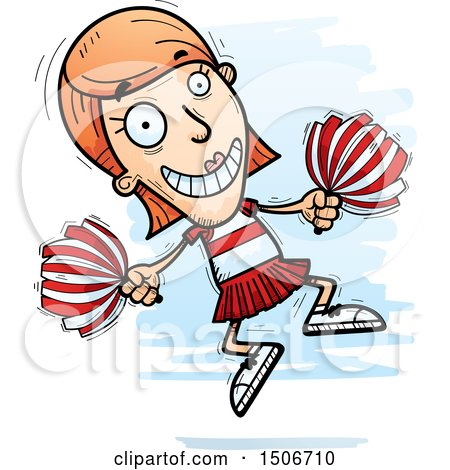 Clipart of a Jumping White Female Cheerleader - Royalty Free Vector Illustration by Cory Thoman