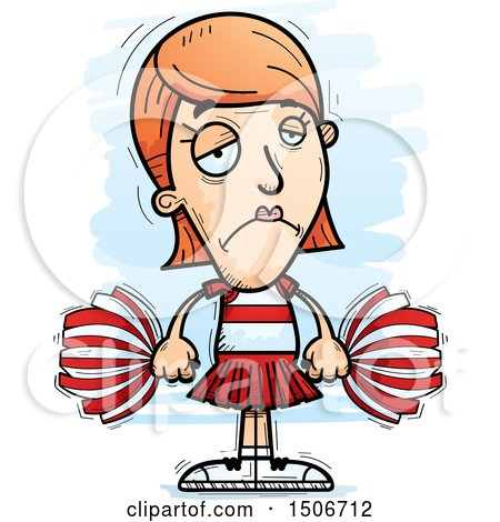 Clipart of a Sad White Female Cheerleader - Royalty Free Vector Illustration by Cory Thoman