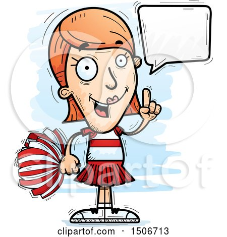 Clipart of a Talking White Female Cheerleader - Royalty Free Vector Illustration by Cory Thoman