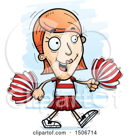 Clipart of a Walking White Female Cheerleader - Royalty Free Vector Illustration by Cory Thoman