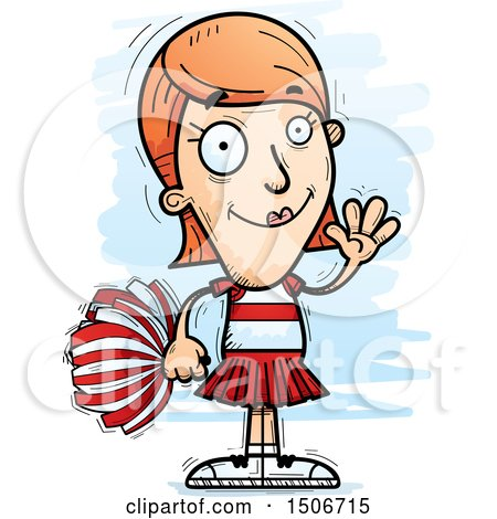 Clipart of a Waving White Female Cheerleader - Royalty Free Vector Illustration by Cory Thoman