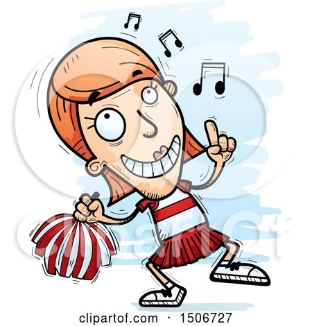 Clipart of a Happy Dancing White Female Cheerleader - Royalty Free Vector Illustration by Cory Thoman