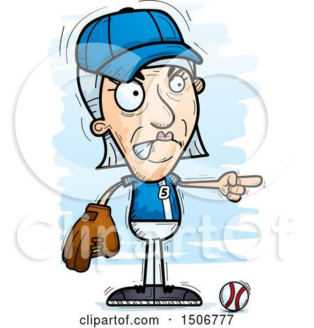 Clipart of a Mad Pointing Senior White Female Baseball Player - Royalty Free Vector Illustration by Cory Thoman