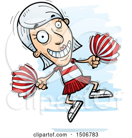 Clipart of a Jumping Senior White Female Cheerleader - Royalty Free Vector Illustration by Cory Thoman