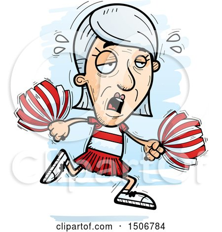 Clipart of a Tired Senior White Female Cheerleader - Royalty Free Vector Illustration by Cory Thoman