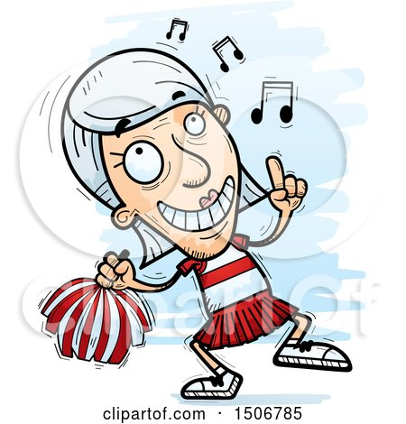 Clipart of a Happy Dancing Senior White Female Cheerleader - Royalty Free Vector Illustration by Cory Thoman