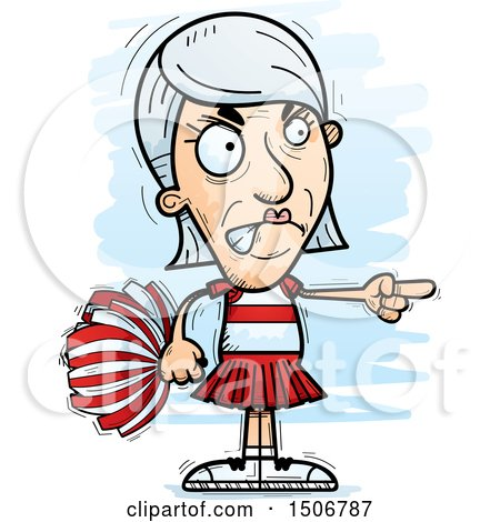 Clipart of a Mad Pointing Senior White Female Cheerleader - Royalty Free Vector Illustration by Cory Thoman