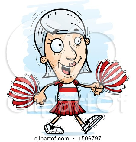 Clipart of a Walking Senior White Female Cheerleader - Royalty Free Vector Illustration by Cory Thoman