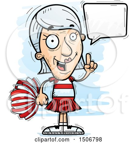 Clipart of a Talking Senior White Female Cheerleader - Royalty Free Vector Illustration by Cory Thoman