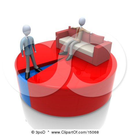 Lazy Businessman Sitting With His Arms Spread Out On The Back Of A Couch Over A Large Portion Of A Pie Chart While Another Businessman Stands On A Small Blue Portion Of The Chart Clipart Graphic by 3poD