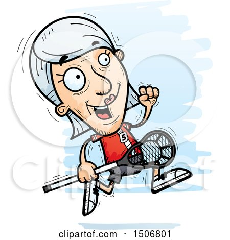 Clipart of a Running Senior White Female Lacrosse Player - Royalty Free Vector Illustration by Cory Thoman