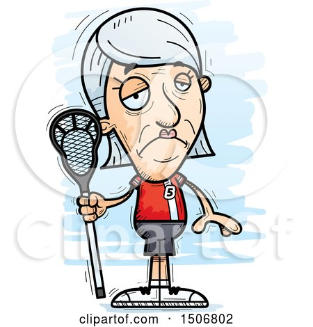 Clipart of a Sad Senior White Female Lacrosse Player - Royalty Free Vector Illustration by Cory Thoman