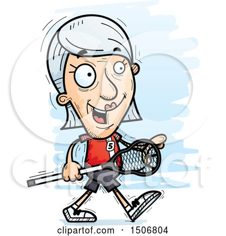 Clipart of a Walking Senior White Female Lacrosse Player - Royalty Free Vector Illustration by Cory Thoman