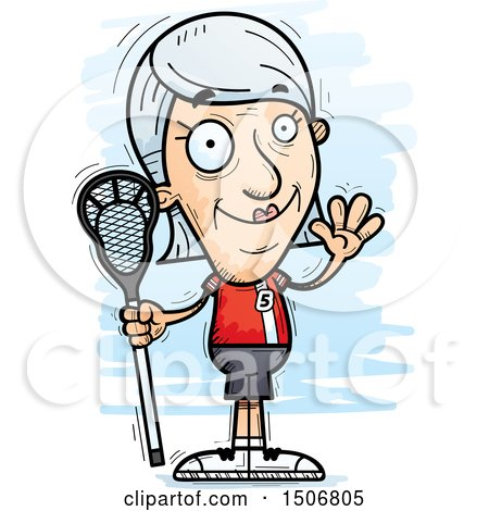Clipart of a Waving Senior White Female Lacrosse Player - Royalty Free Vector Illustration by Cory Thoman