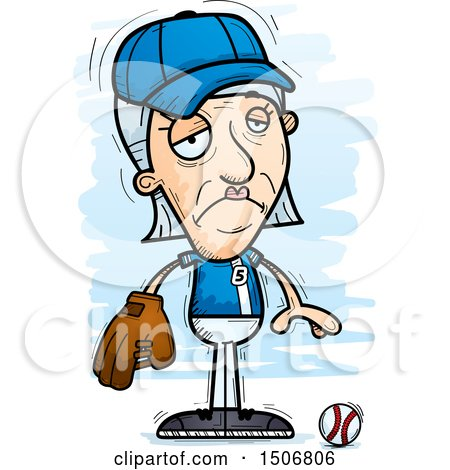 Clipart of a Sad Senior White Female Baseball Player - Royalty Free Vector Illustration by Cory Thoman