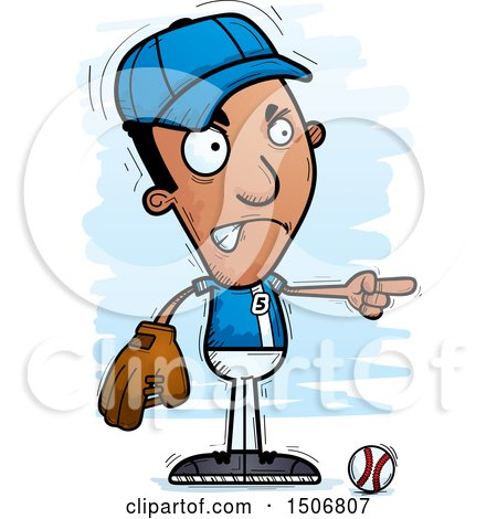 Clipart of a Mad Pointing Black Male Baseball Player - Royalty Free Vector Illustration by Cory Thoman