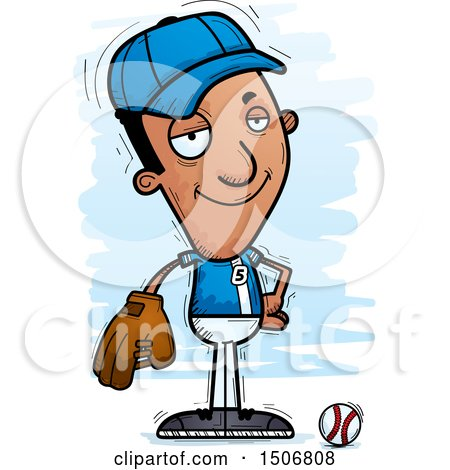 Clipart of a Confident Black Male Baseball Player - Royalty Free Vector Illustration by Cory Thoman