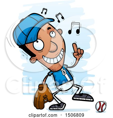 Clipart of a Happy Dancing Black Male Baseball Player - Royalty Free Vector Illustration by Cory Thoman