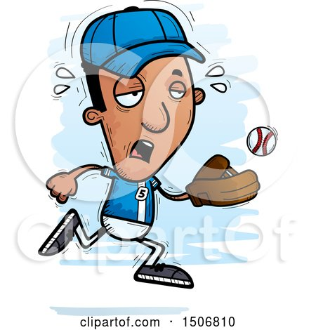 Clipart of a Tired Black Male Baseball Player - Royalty Free Vector Illustration by Cory Thoman