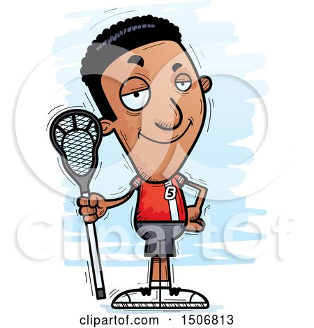 Clipart of a Confident Black Male Lacrosse Player - Royalty Free Vector Illustration by Cory Thoman