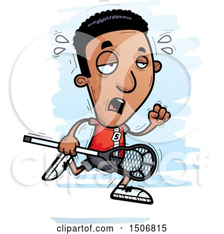 Clipart of a Tired Black Male Lacrosse Player - Royalty Free Vector Illustration by Cory Thoman