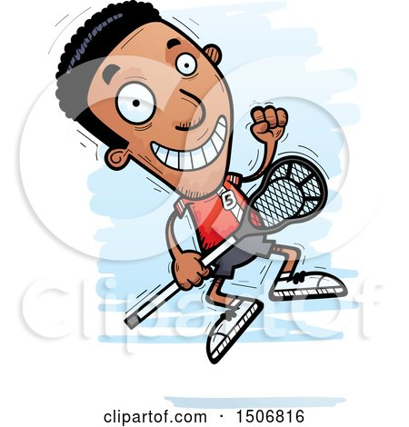 Clipart of a Jumping Black Male Lacrosse Player - Royalty Free Vector Illustration by Cory Thoman