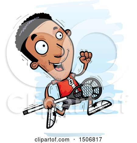 Clipart of a Running Black Male Lacrosse Player - Royalty Free Vector Illustration by Cory Thoman