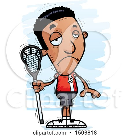 Clipart of a Sad Black Male Lacrosse Player - Royalty Free Vector Illustration by Cory Thoman