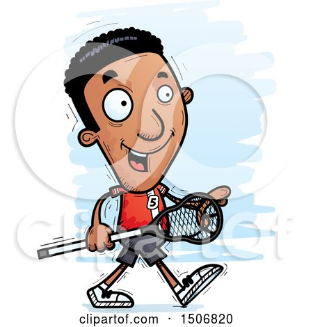 Clipart of a Walking Black Male Lacrosse Player - Royalty Free Vector Illustration by Cory Thoman