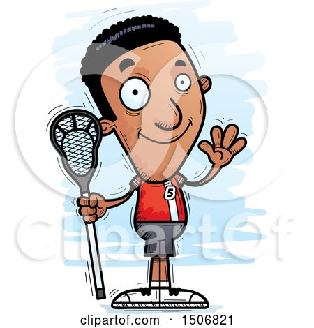 Clipart of a Waving Black Male Lacrosse Player - Royalty Free Vector Illustration by Cory Thoman