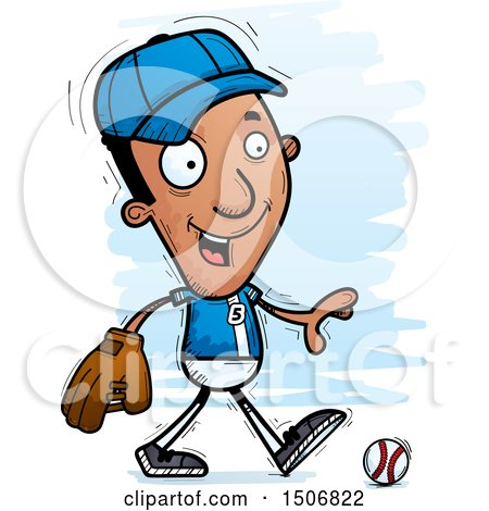 Clipart of a Walking Black Male Baseball Player - Royalty Free Vector Illustration by Cory Thoman