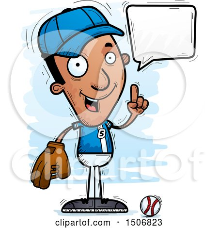 Clipart of a Talking Black Male Baseball Player - Royalty Free Vector Illustration by Cory Thoman
