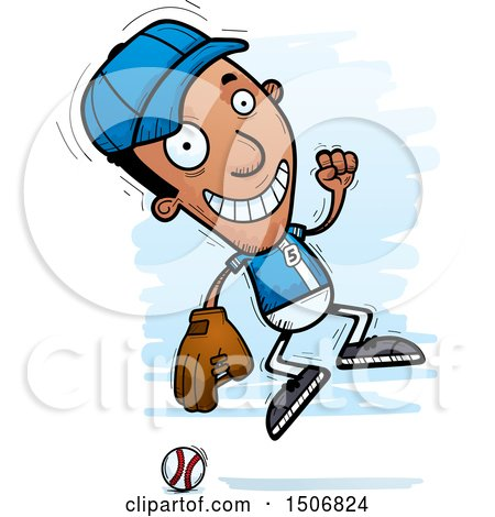 Clipart of a Jumping Black Male Baseball Player - Royalty Free Vector Illustration by Cory Thoman