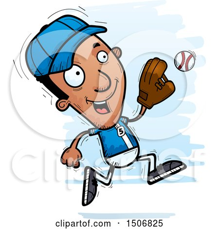 Clipart of a Running Black Male Baseball Player - Royalty Free Vector Illustration by Cory Thoman