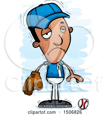 Clipart of a Depressed Black Male Baseball Player - Royalty Free Vector Illustration by Cory Thoman