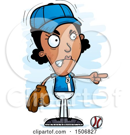 Clipart of a Mad Pointing Black Female Baseball Player - Royalty Free Vector Illustration by Cory Thoman