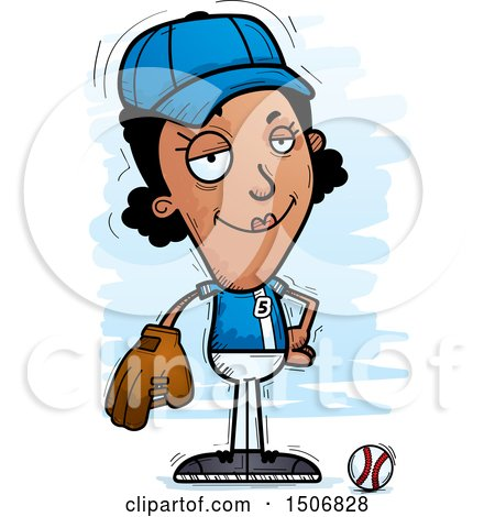 Clipart of a Confident Black Female Baseball Player - Royalty Free Vector Illustration by Cory Thoman