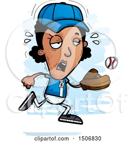 Clipart of a Tired Black Female Baseball Player - Royalty Free Vector Illustration by Cory Thoman