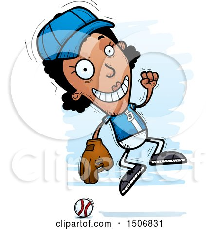 Clipart of a Jumping Black Female Baseball Player - Royalty Free Vector Illustration by Cory Thoman